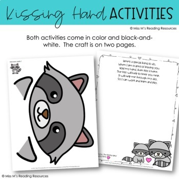 The Kissing Hand Hand Print Poem by Miss M's Reading