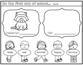 The Kissing Hand a First Day of School Worksheet. by
