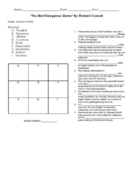 The Most Dangerous Game Magic Square Activity by MrsSherer