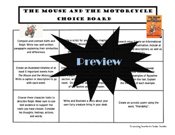 The Mouse and the Motorcycle Choice Board Novel Study