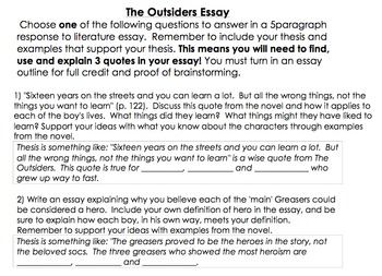 The Outsiders Essay Outline Response To Literature Essay