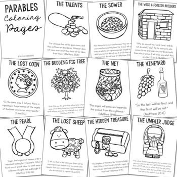The Parables Posters and Coloring Pages, Sunday School