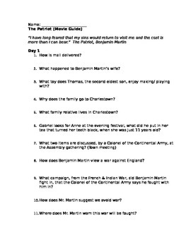 The Patriot Movie Questions Answer Key : patriot, movie, questions, answer, Patriot, Movie, Guide, History, Teachers