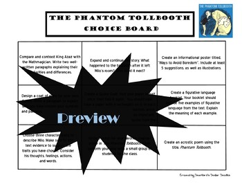 The Phantom Tollbooth Choice Board Novel Study Activities