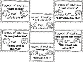 The Power of YET (Growth Mindset) Posters--BLACK & WHITE