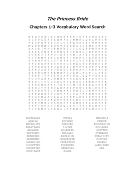 The Princess Bride Vocabulary Word Search Packet (Ch 1-8