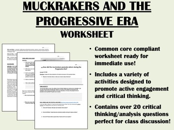 The Progressive Era And The Muckrakers Worksheet Us