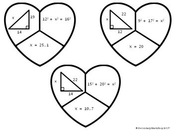The Pythagorean Theorem Valentine's Day Cut, Paste, Solve