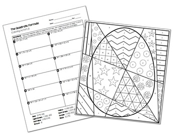Quadratic Formula Coloring Activity by All Things Algebra