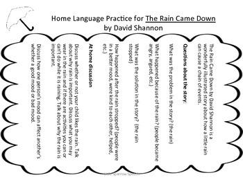 The Rain Came Down: A Language through Literacy Unit by