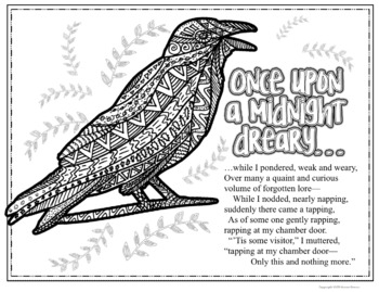 The Raven by Edgar Allan Poe Poetry Coloring Pages by