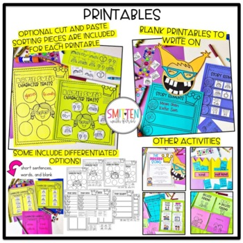 The Recess Queen (graphic organizers, sorts, printables