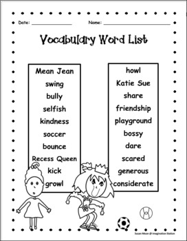 The Recess Queen, Read Aloud Activity Packet, Theme