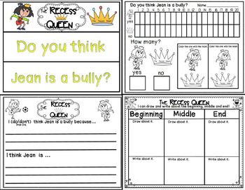The Recess Queen book study companion activities to go t