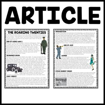 The Roaring Twenties Reading Comprehension Worksheet by