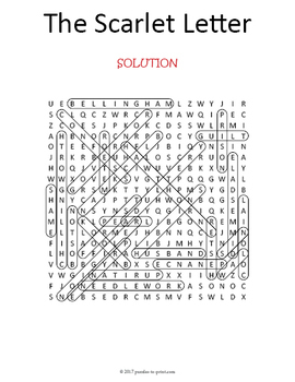 The Scarlet Letter Word Search Puzzle by Puzzles to Print