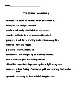The Sniper by Liam O'Flaherty Comprehension Worksheets
