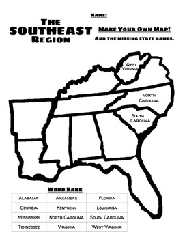 Southeast Region of the U.S. in English and Spanish by