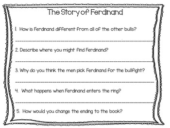 The Story of Ferdinand ~ 52 pgs. Common Core Activities by