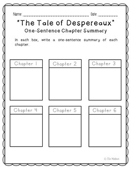 The Tale of Despereaux Novel Unit Study Activities, Book