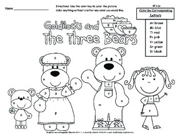 The Three Bears Color by Letter A Common Core Activity by