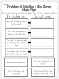 The Three Ninja Pigs - Problem & Solution Worksheet by ...