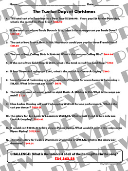 The Twelve Days of Christmas Unit Rate Word Problems