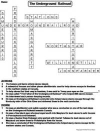 The Underground Railroad Worksheet/ Crossword Puzzle by ...