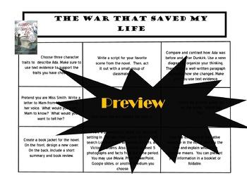 The War That Saved My Life Choice Board Tic Tac Toe Novel