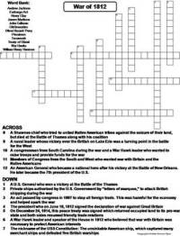 The War of 1812 Worksheet/ Crossword Puzzle by Science