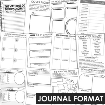 THE WATSONS GO TO BIRMINGHAM Novel Study Unit Activities