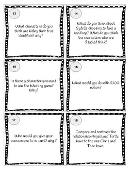 The Westing Game Discussion Questions Task Cards by