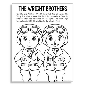 THE WRIGHT BROTHERS Inventor Coloring Page Craft or Poster