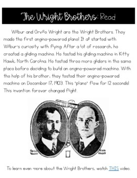 The Wright Brothers Differentiated Reading Passage and