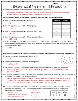 Theoretical And Experimental Probability Worksheet By Math