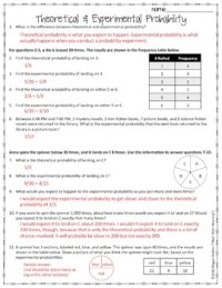 Theoretical and Experimental Probability Worksheet by Math ...