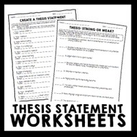 Thesis Statement Worksheet Packet & Printables by Erika ...