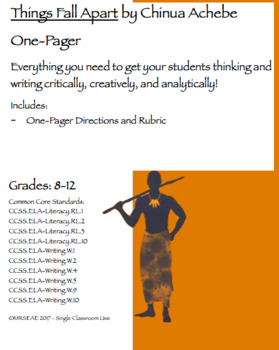 Things Fall Apart by Chinua Achebe OnePager and Rubric by Mrs EAE