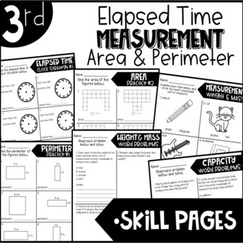 Third Grade Bundle Elapsed Time Measurement Area and