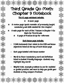 Third Grade: Go Math Chapter 9 Notebook by Quick Check