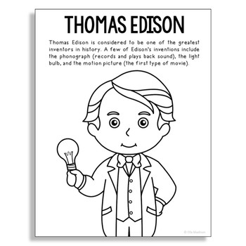 THOMAS EDISON Inventor Coloring Page Craft or Poster, STEM