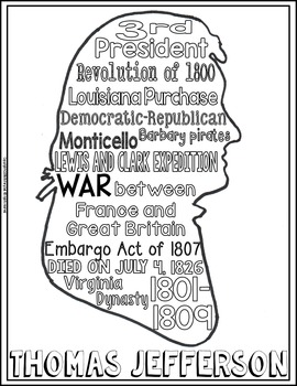 Thomas Jefferson Coloring Page and Word Cloud Activity by