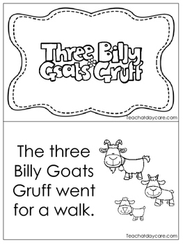 Three Billy Goats Gruff Emergent Reader. Pre-k