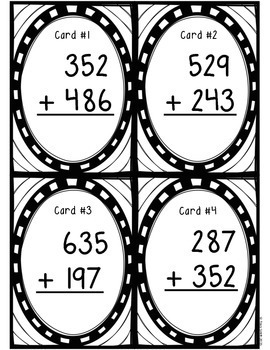 Three-Digit Addition with Regrouping Task Cards! SCOOT