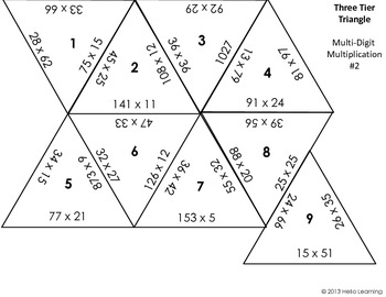 Three Tier Triangle Math Puzzle- Multi-Digit