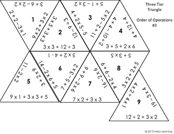Three Tier Triangle Math Puzzle- Order of Operations by