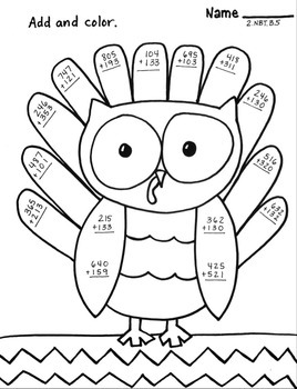 Three digit ADDITION no regrouping Owl Turkey Thanksgiving