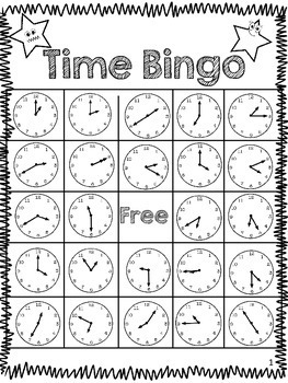 Time Bingo- Telling Time to the Nearest 5- Minute Interval