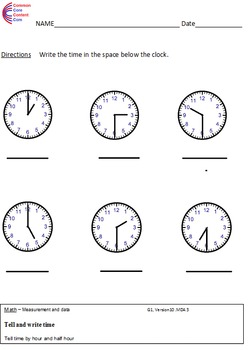 1.MD.3 Time First Grade Common Core Math Worksheets 1.MD.B