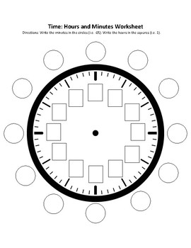Time: Hours and Minutes Clock Worksheet by Ashley Hamilton
